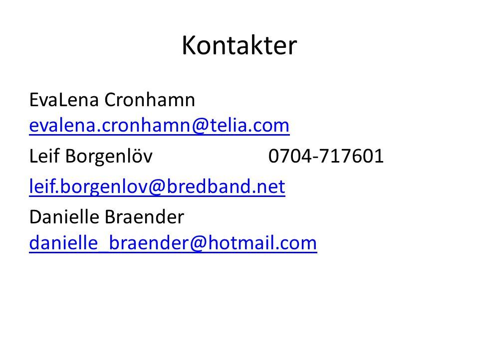 Kontakter EvaLena Cronhamn evalena.cronhamn@telia.com evalena.cronhamn@telia.com Leif Borgenlöv0704-717601 leif.borgenlov@bredband.net Danielle Braend