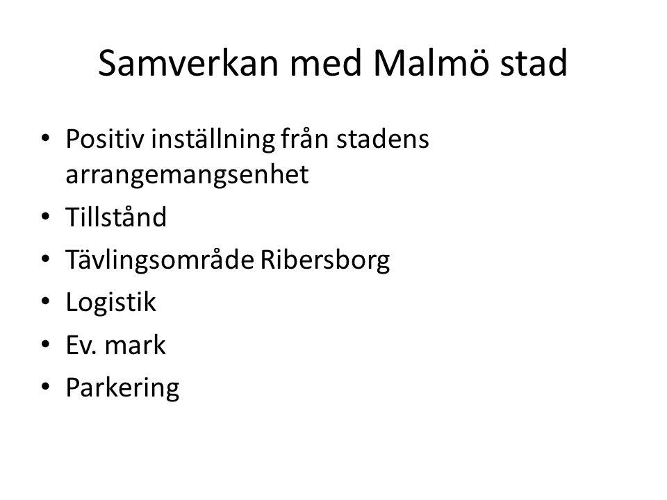 Samverkan med Malmö stad • Positiv inställning från stadens arrangemangsenhet • Tillstånd • Tävlingsområde Ribersborg • Logistik • Ev. mark • Parkerin