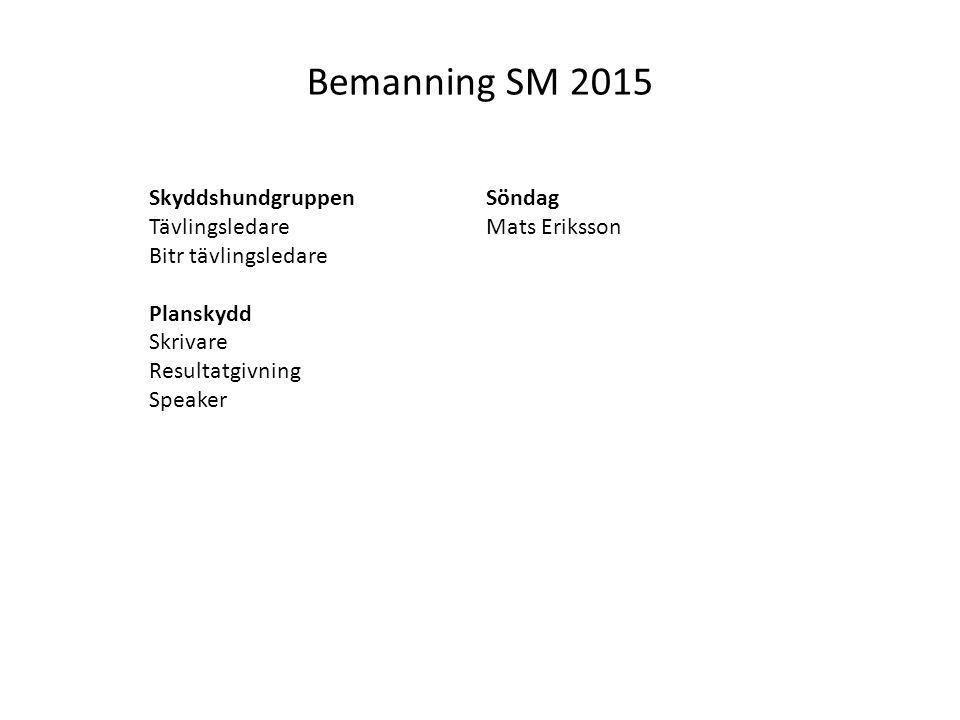 Bemanning SM 2015 Skyddshundgruppen Tävlingsledare Bitr tävlingsledare Planskydd Skrivare Resultatgivning Speaker Söndag Mats Eriksson