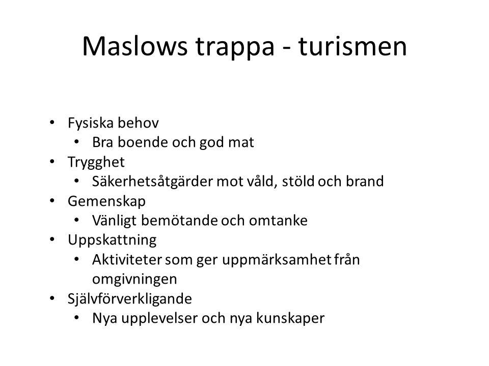 Maslows trappa - turismen • Fysiska behov • Bra boende och god mat • Trygghet • Säkerhetsåtgärder mot våld, stöld och brand • Gemenskap • Vänligt bemötande och omtanke • Uppskattning • Aktiviteter som ger uppmärksamhet från omgivningen • Självförverkligande • Nya upplevelser och nya kunskaper