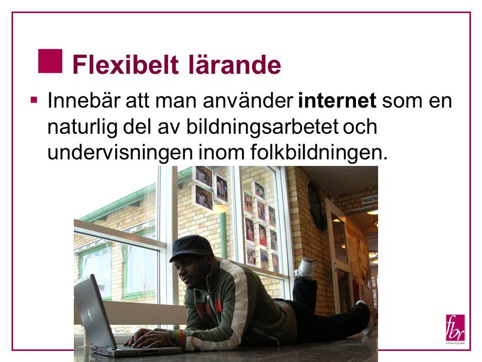  Flexibelt lärande  Innebär att man använder internet som en naturlig del av bildningsarbetet och undervisningen inom folkbildningen.