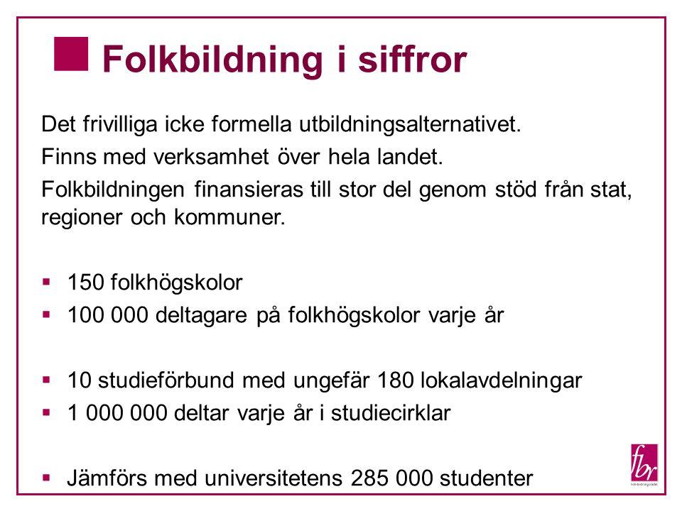 Folkbildning i siffror Det frivilliga icke formella utbildningsalternativet. Finns med verksamhet över hela landet. Folkbildningen finansieras till