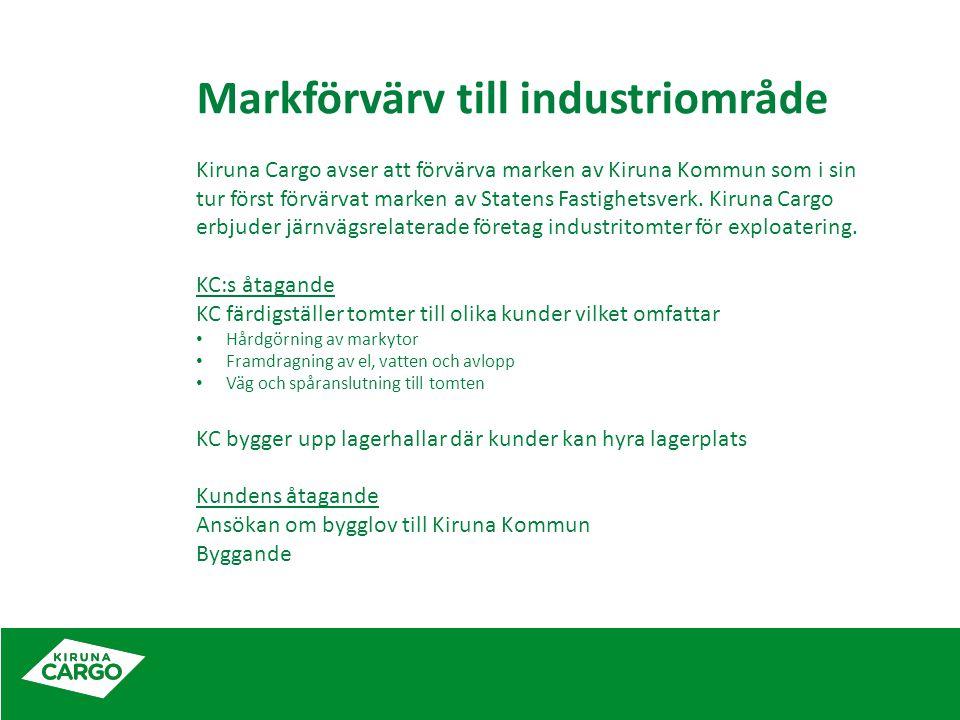 Markförvärv till industriområde Kiruna Cargo avser att förvärva marken av Kiruna Kommun som i sin tur först förvärvat marken av Statens Fastighetsverk.
