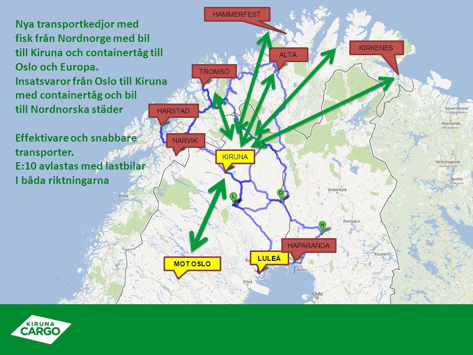KIRUNA ALTA TROMSÖ HARSTAD NARVIK LULEÅ HAPARANDA KIRKENES HAMMERFEST MOT OSLO Nya transportkedjor med fisk från Nordnorge med bil till Kiruna och containertåg till Oslo och Europa.