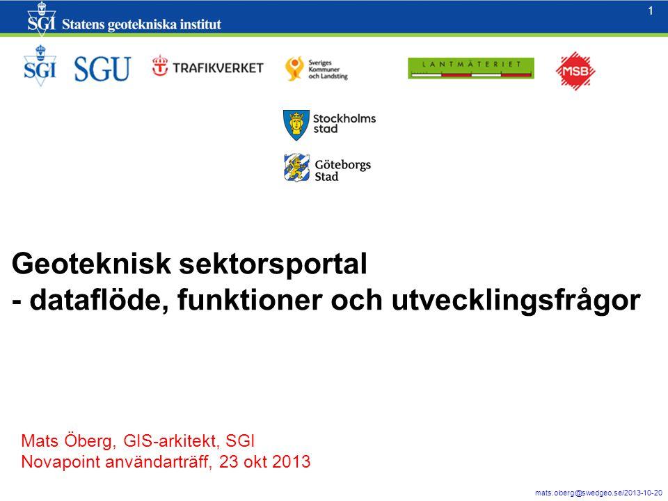 1 mats.oberg@swedgeo.se/2013-10-20 1 Geoteknisk sektorsportal - dataflöde, funktioner och utvecklingsfrågor Mats Öberg, GIS-arkitekt, SGI Novapoint an