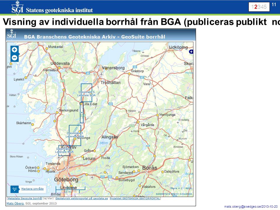 11 mats.oberg@swedgeo.se/2013-10-20 11 Visning av individuella borrhål från BGA (publiceras publikt nov 2013) 12345