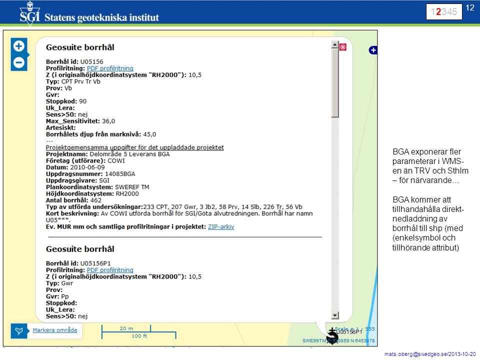 12 mats.oberg@swedgeo.se/2013-10-20 12 12345 BGA exponerar fler parameterar i WMS- en än TRV och Sthlm – för närvarande… BGA kommer att tillhandahålla