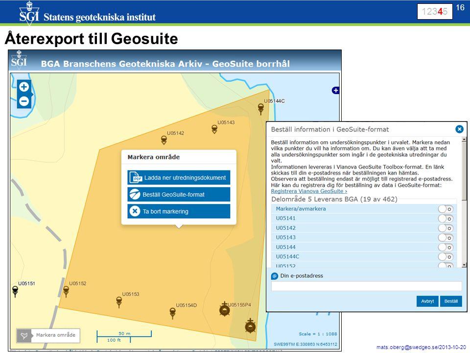 16 mats.oberg@swedgeo.se/2013-10-20 16 Återexport till Geosuite 12345