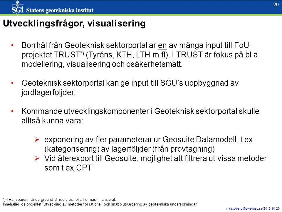 20 mats.oberg@swedgeo.se/2013-10-20 20 Utvecklingsfrågor, visualisering •Borrhål från Geoteknisk sektorportal är en av många input till FoU- projektet