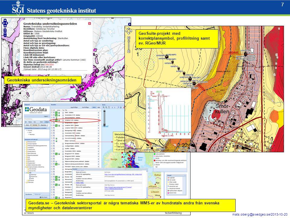 7 mats.oberg@swedgeo.se/2013-10-20 7 Geotekniska undersökningsområden Geodata.se – Geoteknisk sektorsportal är några tematiska WMS-er av hundratals an