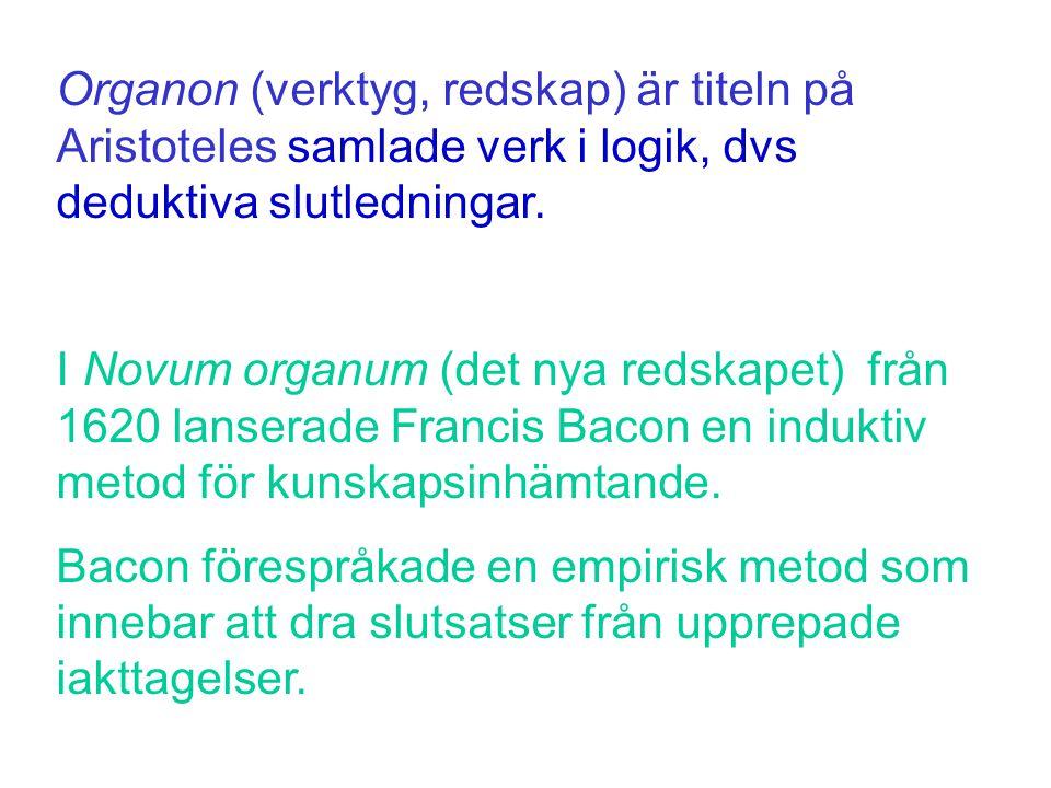 Organon (verktyg, redskap) är titeln på Aristoteles samlade verk i logik, dvs deduktiva slutledningar. I Novum organum (det nya redskapet) från 1620 l