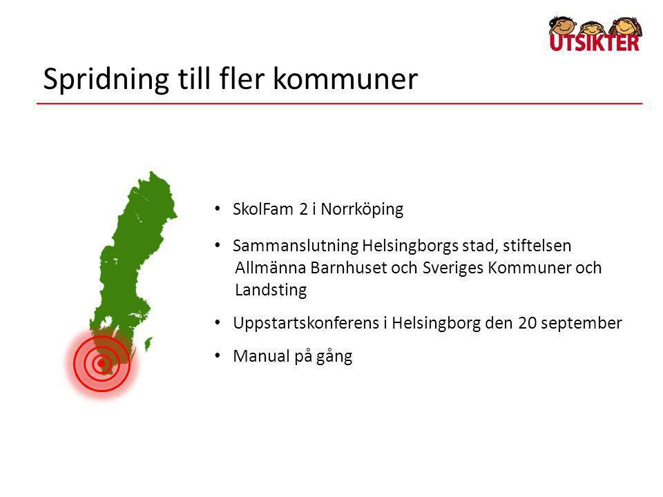 Spridning till fler kommuner • SkolFam 2 i Norrköping • Sammanslutning Helsingborgs stad, stiftelsen Allmänna Barnhuset och Sveriges Kommuner och Land