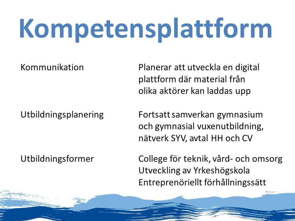 Kompetensplattform KommunikationPlanerar att utveckla en digital plattform där material från olika aktörer kan laddas upp UtbildningsplaneringFortsatt