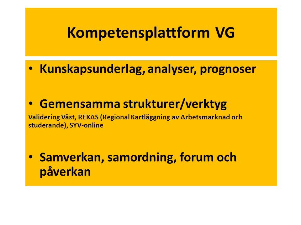Kompetensplattform VG • Kunskapsunderlag, analyser, prognoser • Gemensamma strukturer/verktyg Validering Väst, REKAS (Regional Kartläggning av Arbetsm