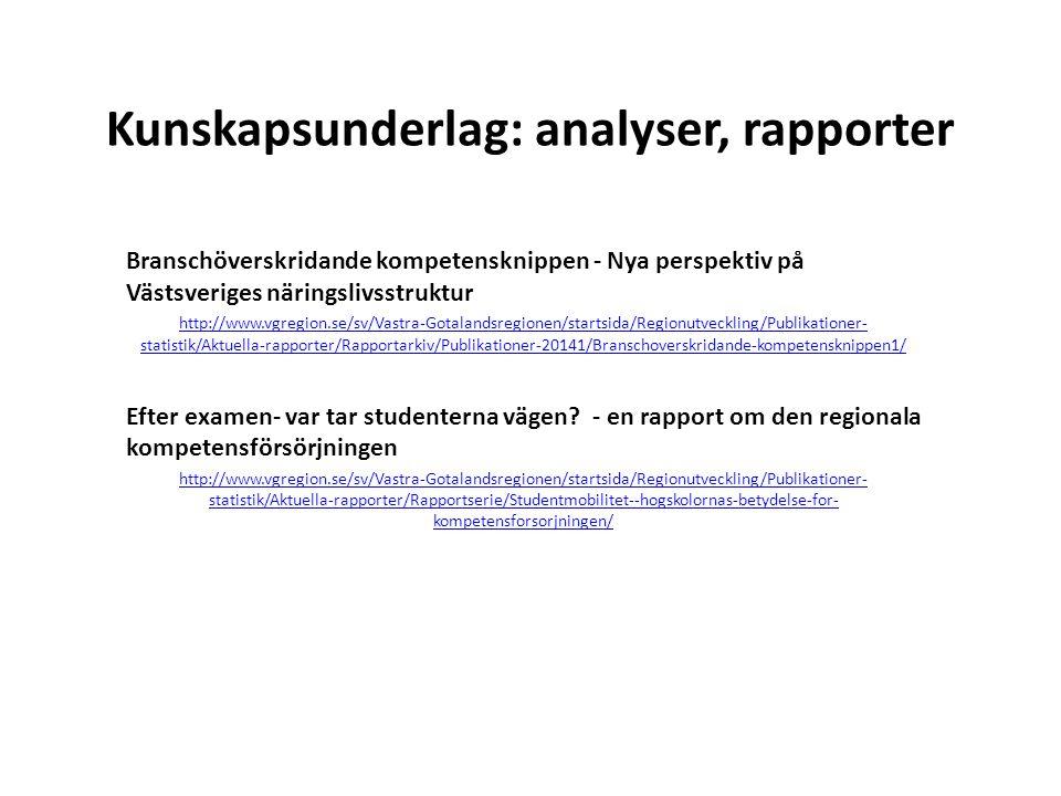 Kunskapsunderlag: analyser, rapporter Branschöverskridande kompetensknippen - Nya perspektiv på Västsveriges näringslivsstruktur http://www.vgregion.s