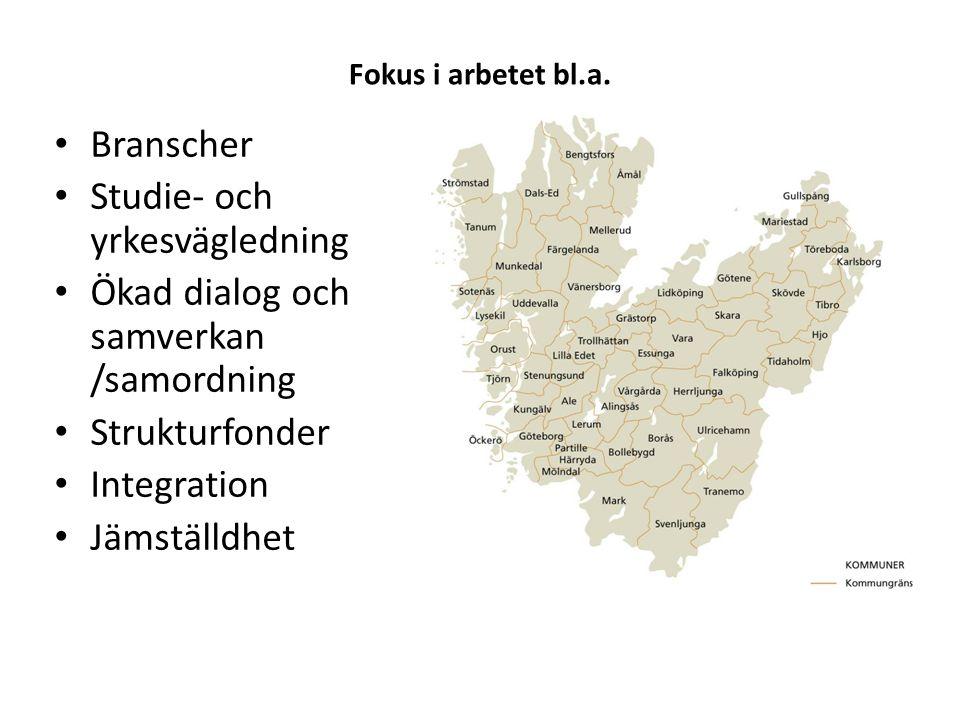 Kompetensplattform Västra Götaland Fokus i arbetet bl.a. • Branscher • Studie- och yrkesvägledning • Ökad dialog och samverkan /samordning • Strukturf