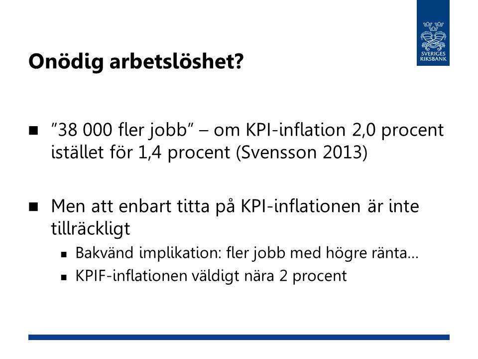 """Onödig arbetslöshet?  """"38 000 fler jobb"""" – om KPI-inflation 2,0 procent istället för 1,4 procent (Svensson 2013)  Men att enbart titta på KPI-inflat"""