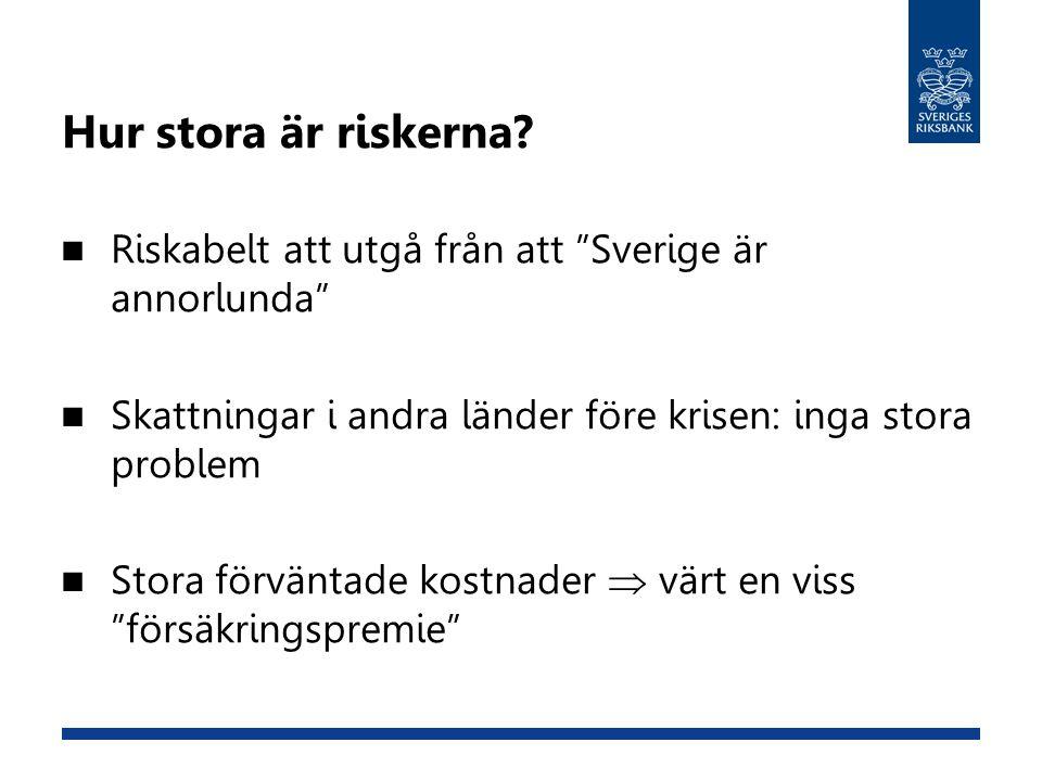 """Hur stora är riskerna?  Riskabelt att utgå från att """"Sverige är annorlunda""""  Skattningar i andra länder före krisen: inga stora problem  Stora förv"""
