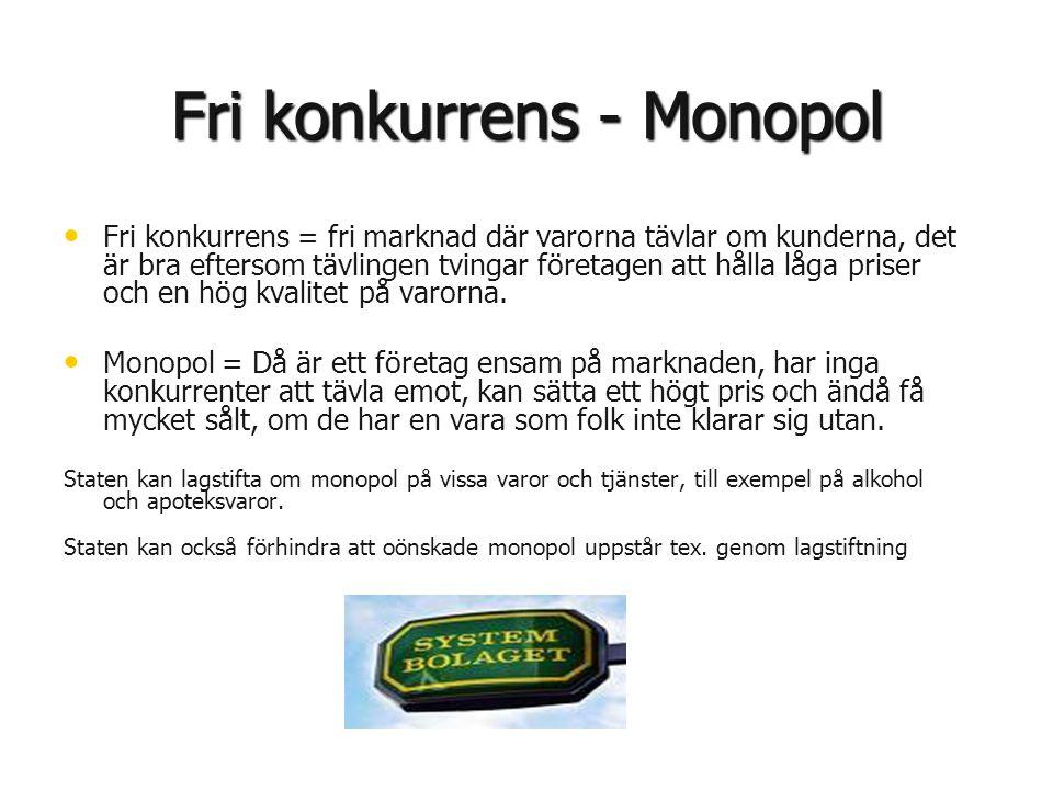Fri konkurrens - Monopol • • Fri konkurrens = fri marknad där varorna tävlar om kunderna, det är bra eftersom tävlingen tvingar företagen att hålla lå