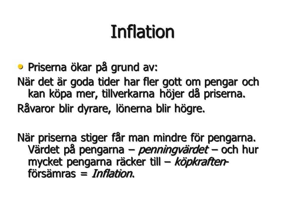 Inflation • Priserna ökar på grund av: När det är goda tider har fler gott om pengar och kan köpa mer, tillverkarna höjer då priserna. Råvaror blir dy
