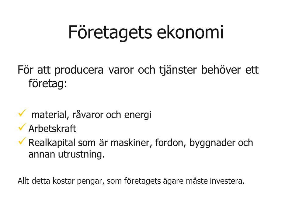 Företagets ekonomi För att producera varor och tjänster behöver ett företag:   material, råvaror och energi   Arbetskraft   Realkapital som är m