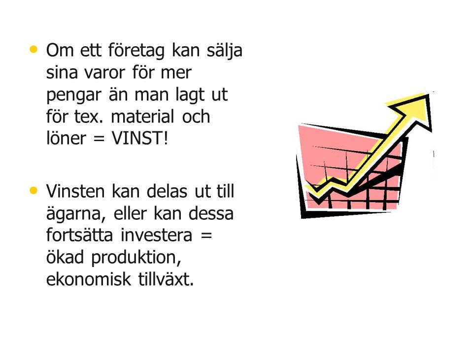 • • Om ett företag kan sälja sina varor för mer pengar än man lagt ut för tex. material och löner = VINST! • • Vinsten kan delas ut till ägarna, eller