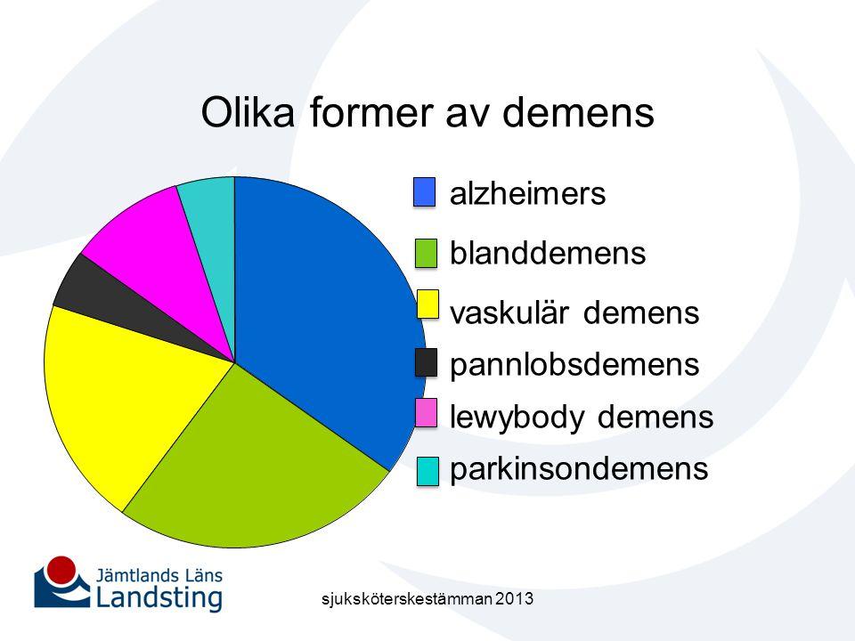 Olika former av demens alzheimers blanddemens vaskulär demens pannlobsdemens lewybody demens parkinsondemens sjuksköterskestämman 2013