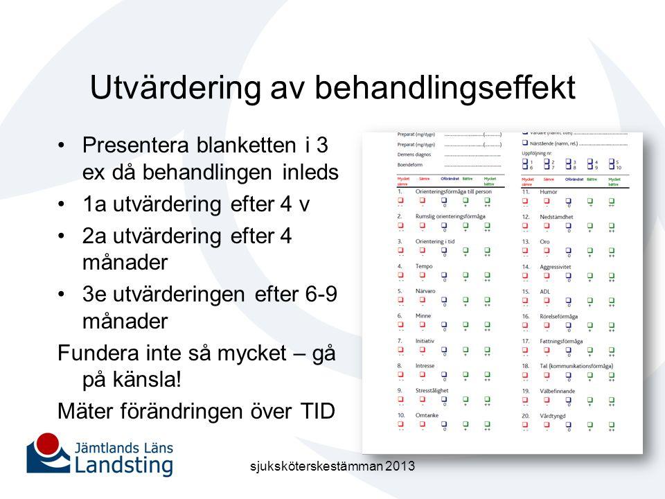 Utvärdering av behandlingseffekt •Presentera blanketten i 3 ex då behandlingen inleds •1a utvärdering efter 4 v •2a utvärdering efter 4 månader •3e ut