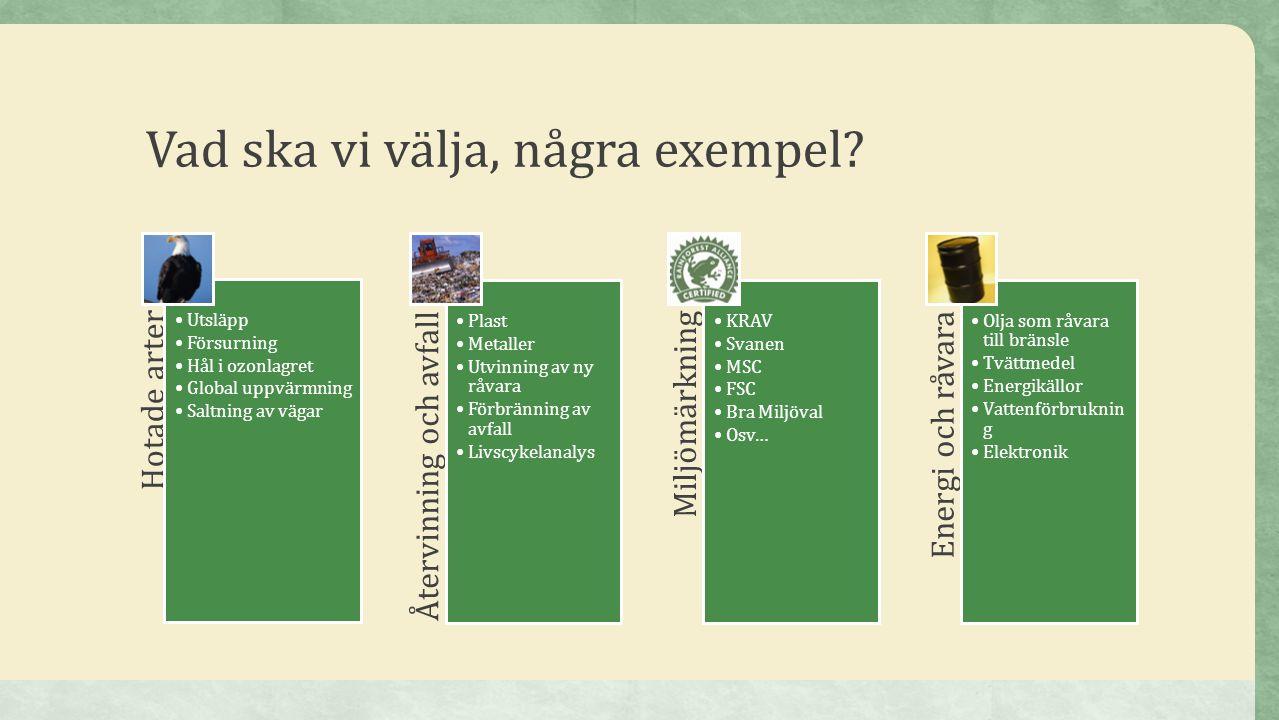 Vad ska vi välja, några exempel? Hotade arter •Utsläpp •Försurning •Hål i ozonlagret •Global uppvärmning •Saltning av vägar Återvinning och avfall •Pl