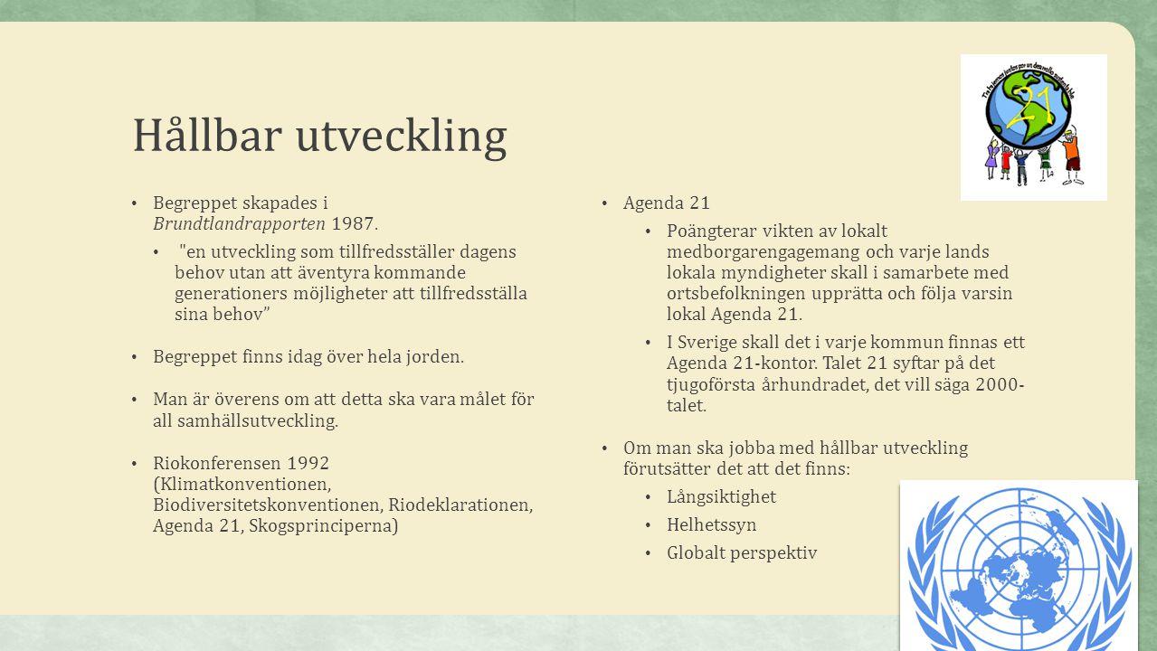 Hållbar utveckling • Begreppet skapades i Brundtlandrapporten 1987. •
