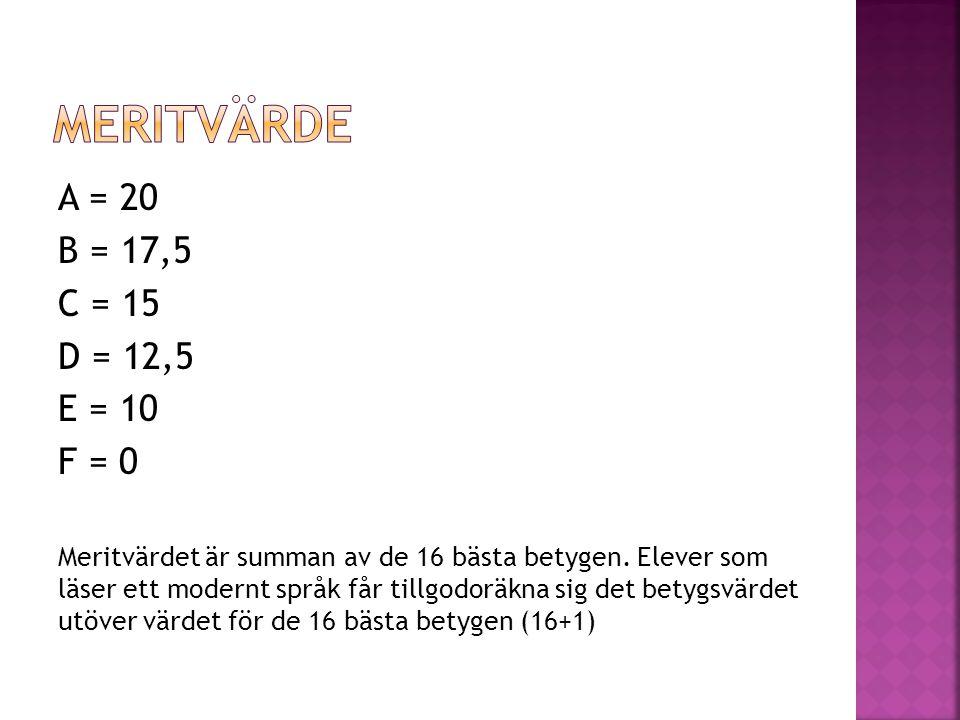 A = 20 B = 17,5 C = 15 D = 12,5 E = 10 F = 0 Meritvärdet är summan av de 16 bästa betygen. Elever som läser ett modernt språk får tillgodoräkna sig de