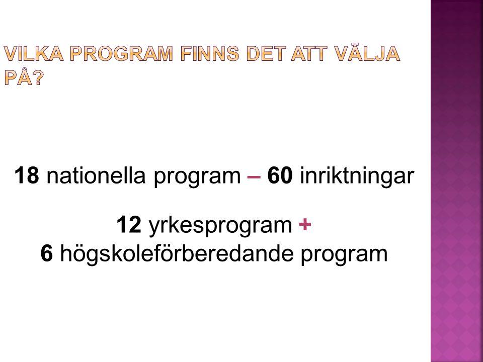 18 nationella program – 60 inriktningar 12 yrkesprogram + 6 högskoleförberedande program