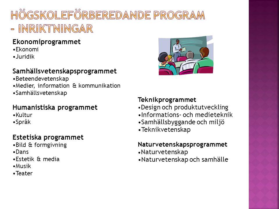 Ekonomiprogrammet •Ekonomi •Juridik Samhällsvetenskapsprogrammet •Beteendevetenskap •Medier, information & kommunikation •Samhällsvetenskap Humanistis