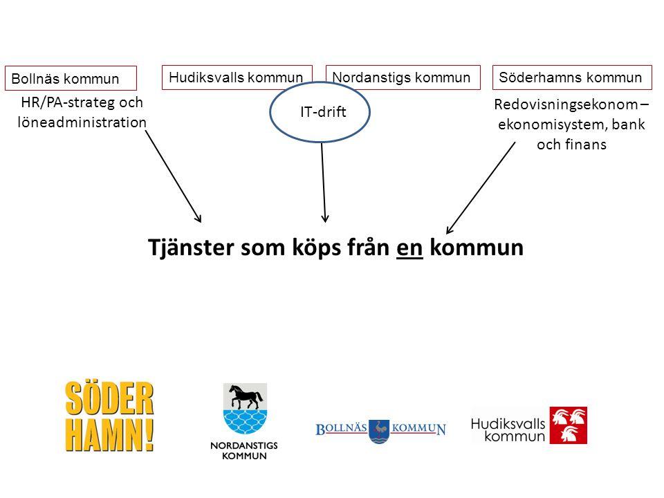 Tjänster som köps från en kommun Bollnäs kommun Hudiksvalls kommunNordanstigs kommunSöderhamns kommun HR/PA-strateg och löneadministration IT-drift Redovisningsekonom – ekonomisystem, bank och finans