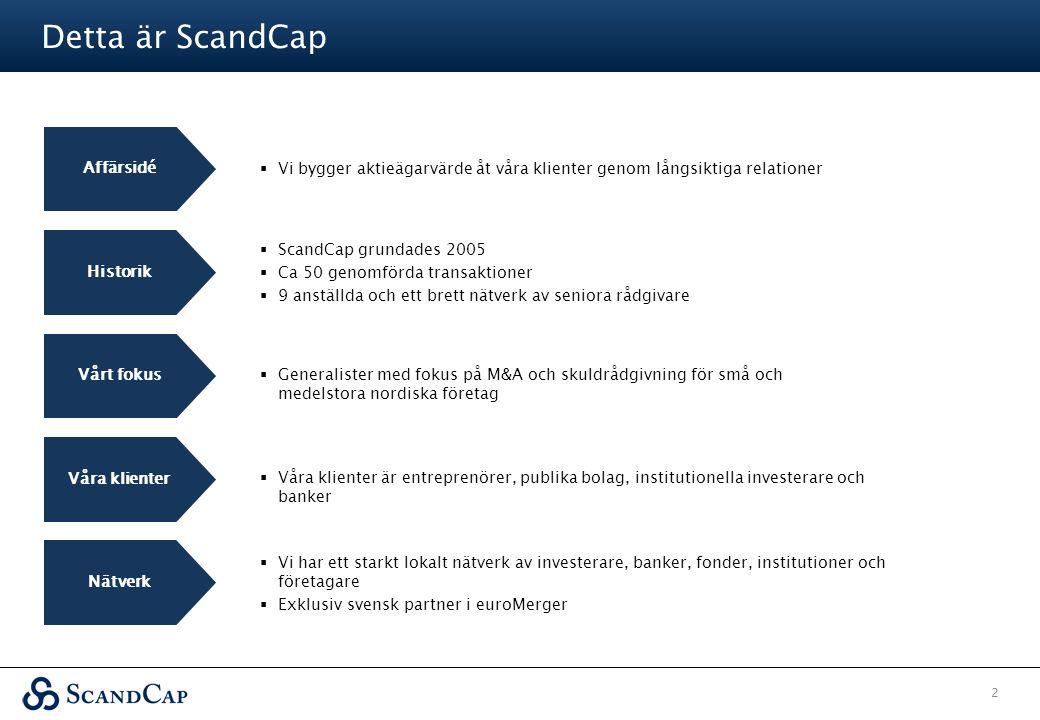 Detta är ScandCap 2 Historik Vårt fokus Våra klienter Affärsidé  Vi bygger aktieägarvärde åt våra klienter genom långsiktiga relationer  ScandCap gr