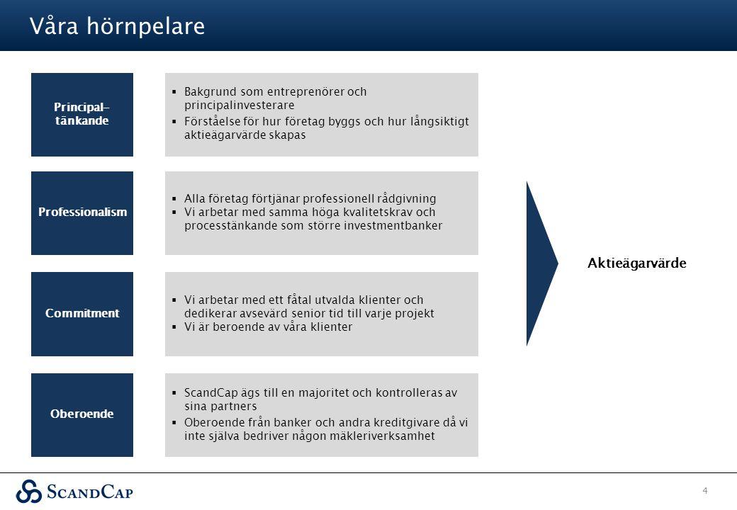 Våra hörnpelare 4 Principal- tänkande Professionalism Commitment Oberoende  Bakgrund som entreprenörer och principalinvesterare  Förståelse för hur