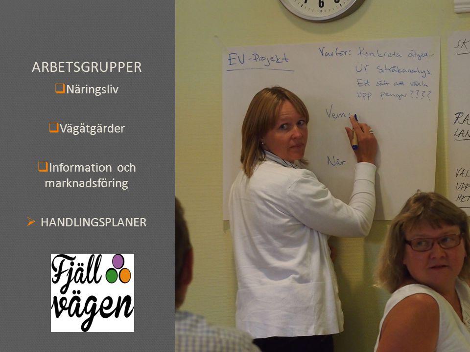 ARBETSGRUPPER  Näringsliv  Vägåtgärder  Information och marknadsföring  HANDLINGSPLANER