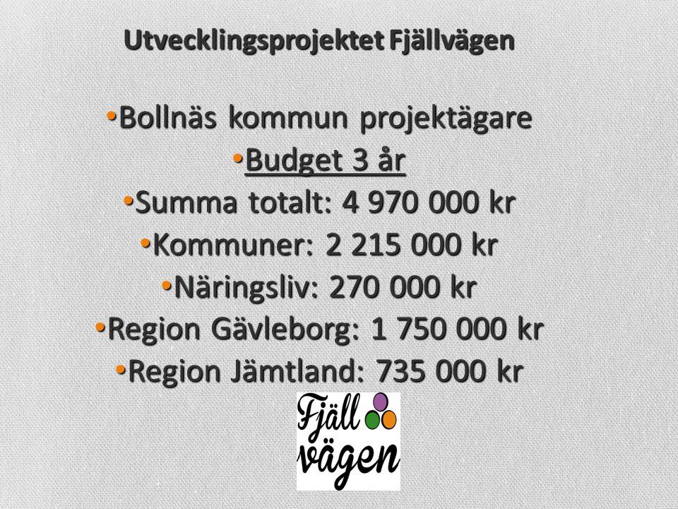 Utvecklingsprojektet Fjällvägen • Bollnäs kommun projektägare • Budget 3 år • Summa totalt: 4 970 000 kr • Kommuner: 2 215 000 kr • Näringsliv: 270 000 kr • Region Gävleborg: 1 750 000 kr • Region Jämtland: 735 000 kr