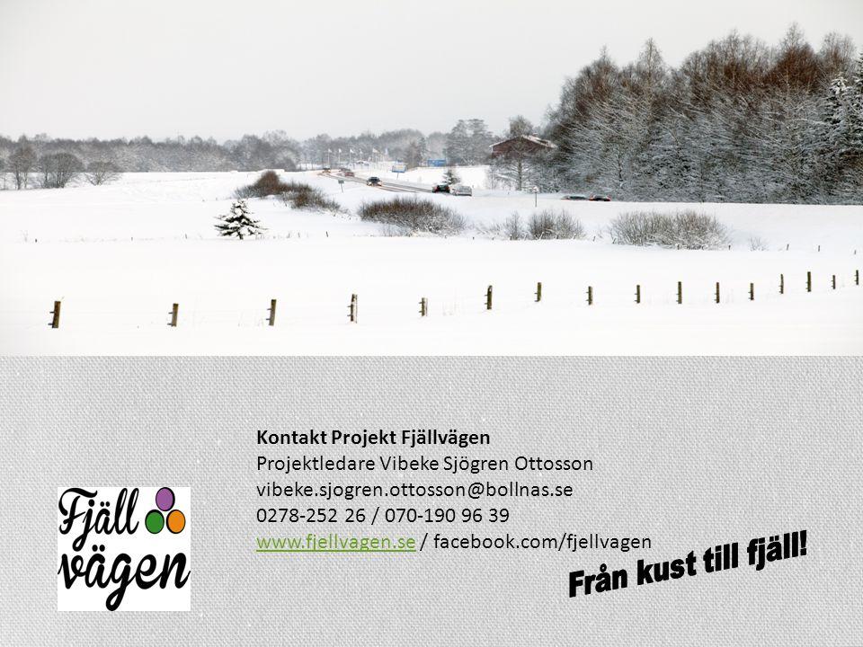 Kontakt Projekt Fjällvägen Projektledare Vibeke Sjögren Ottosson vibeke.sjogren.ottosson@bollnas.se 0278-252 26 / 070-190 96 39 www.fjellvagen.sewww.fjellvagen.se / facebook.com/fjellvagen