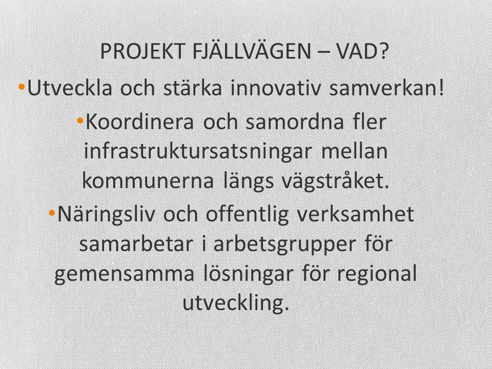 PROJEKT FJÄLLVÄGEN – VAD. • Utveckla och stärka innovativ samverkan.