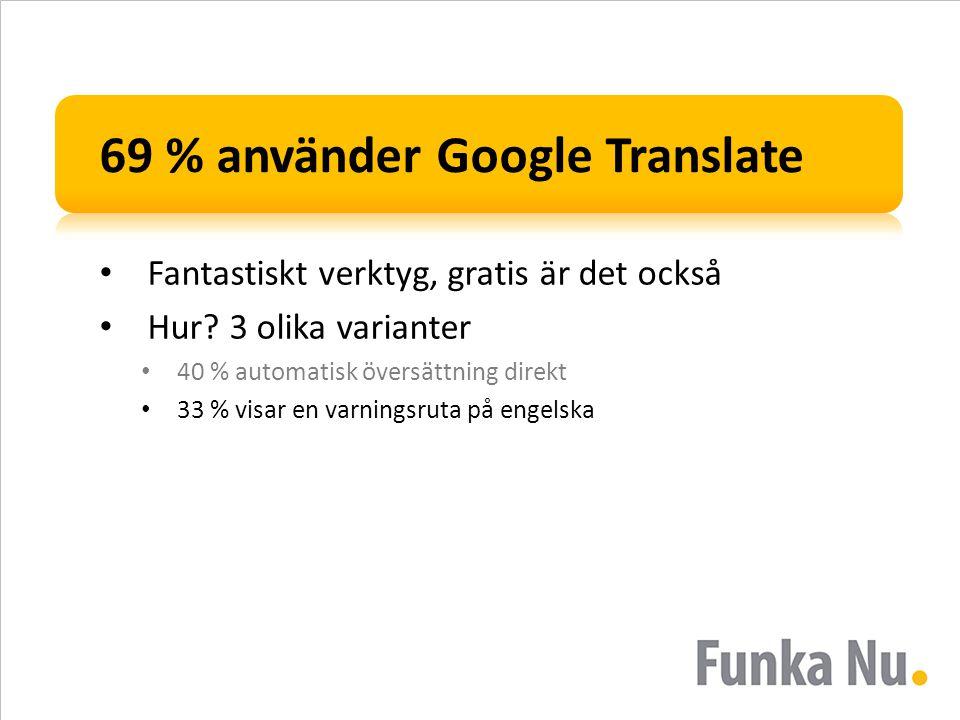 69 % använder Google Translate • Fantastiskt verktyg, gratis är det också • Hur.
