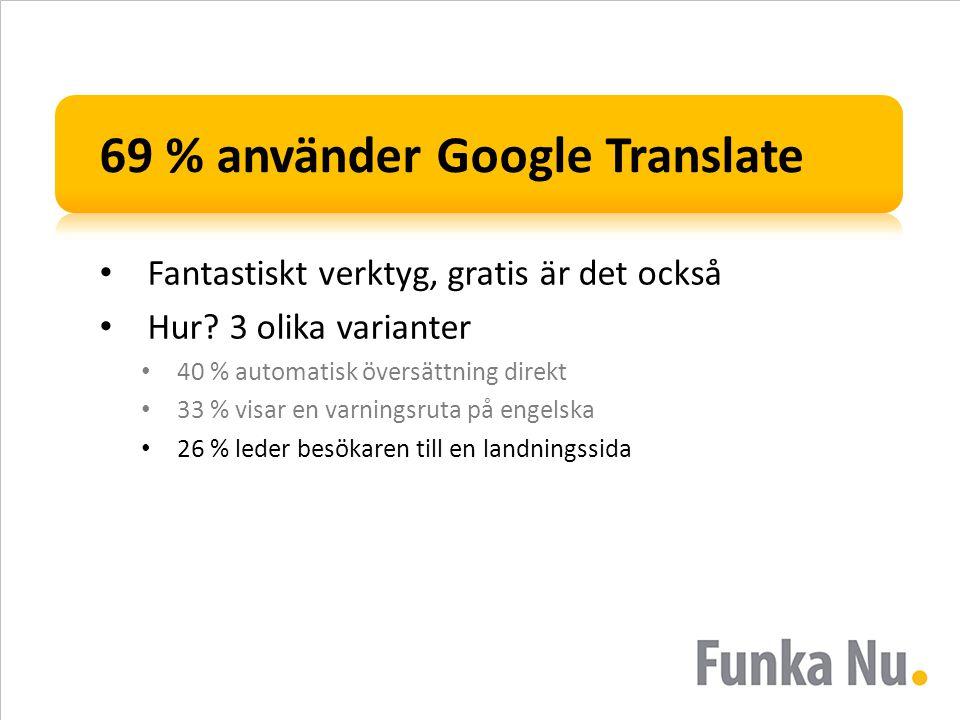 69 % använder Google Translate • Fantastiskt verktyg, gratis är det också • Hur? 3 olika varianter • 40 % automatisk översättning direkt • 33 % visar