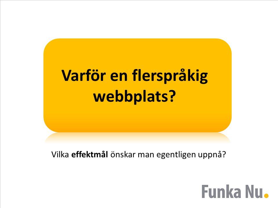 Varför en flerspråkig webbplats? Vilka effektmål önskar man egentligen uppnå?