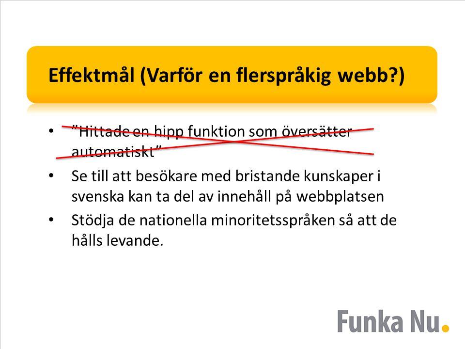 Effektmål (Varför en flerspråkig webb?) • Hittade en hipp funktion som översätter automatiskt • Se till att besökare med bristande kunskaper i svenska kan ta del av innehåll på webbplatsen • Stödja de nationella minoritetsspråken så att de hålls levande.