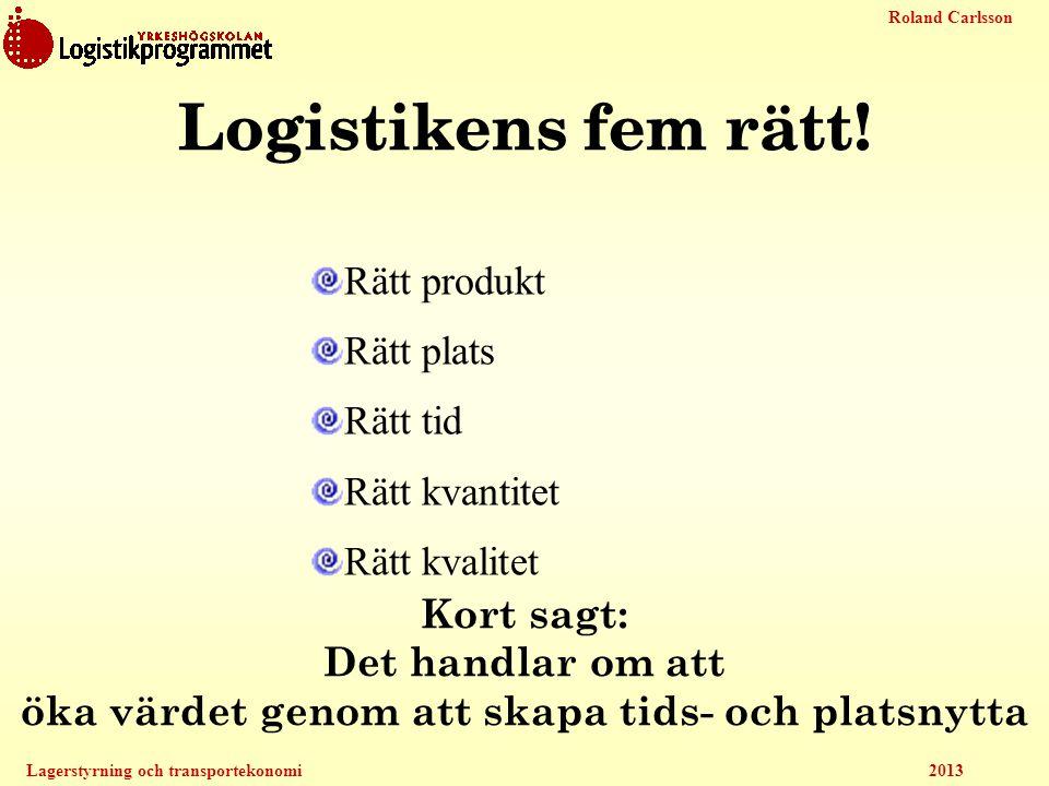 Roland Carlsson Lagerstyrning och transportekonomi 2013 Logistikens fem rätt! Rätt produkt Rätt plats Rätt tid Rätt kvantitet Rätt kvalitet Kort sagt:
