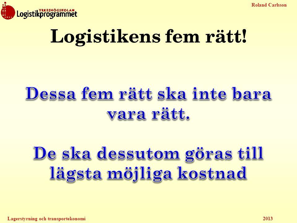 Roland Carlsson Lagerstyrning och transportekonomi 2013 Logistikens fem rätt!