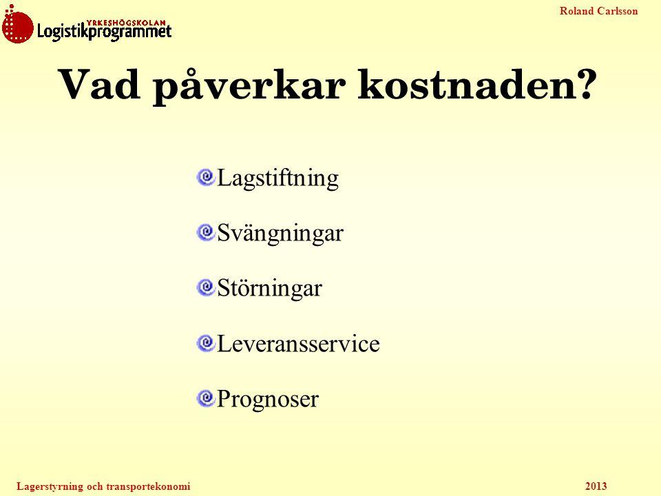 Roland Carlsson Lagerstyrning och transportekonomi 2013 Vad påverkar kostnaden? Lagstiftning Svängningar Störningar Leveransservice Prognoser