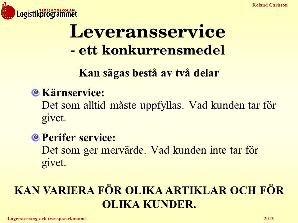 Roland Carlsson Lagerstyrning och transportekonomi 2013 Leveransservice - ett konkurrensmedel Kan sägas bestå av två delar Kärnservice: Det som alltid