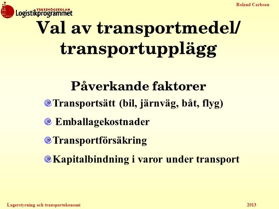 Roland Carlsson Lagerstyrning och transportekonomi 2013 Val av transportmedel/ transportupplägg Påverkande faktorer Transportsätt (bil, järnväg, båt,