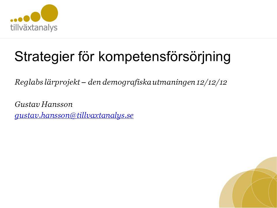 Nya och pågående studier Ny rapport • Framtida 'marknad' för vård och omsorg av äldre – prognos över behovet av äldreomsorg i Sveriges kommuner fram till 2030 •Förändring av åldersgruppen 75 år och äldre •http://publikationer.tillvaxtverket.se/ProductView.aspx?ID=1840http://publikationer.tillvaxtverket.se/ProductView.aspx?ID=1840 Pågående •rAps-framskrivning till 2020 avseende indikatorer för EU2020 strategin •Länsnivå •Publiceras på Tillväxtanalys hemsida efter nyår
